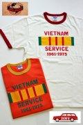 「JELADO」 Vietnam Service Tee ジェラード ベトナムサービス 半袖プリント リンガーTシャツ JPT-1503 [バニラ・フレッシュオレンジ]