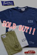 「Pherrows」 フェローズ  「U.S.N」 ポケット付きTシャツ 16S-PPT2 [ホワイト・オリーブ・ネイビー]