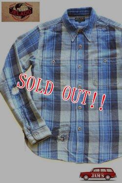 画像1: 「JELADO」 DUG OUT SHIRTS ジェラード ダグアウトシャツ 40着限定生産 ヴィンテージ加工 ネルシャツ [ブルー]