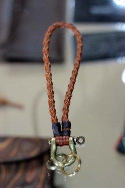 画像2: 「RE.ACT」 Leather Mesh Key Holder レザー メッシュキーホルダー [ナチュラル・ブラウン・レッド・カーキ]