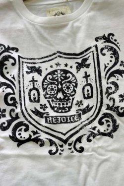 """画像3: 「FRENZY WORKS」MEXICAN SKULL Tee """"SHIELD"""" フレンジーワーク メキシカンスカル プリントTシャツ [ホワイト]"""