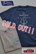 「Pherrows」 U.S.NAVY HAWAII フェローズ  USネイビー ハワイ プリント半袖Tシャツ 15S-PT10 [Sホワイト・Sネイビー]