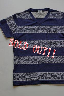 画像4: 「Pherrows」 フェローズ  クロスバンダナ柄 ジャガードボーダー 半袖ポケット Vネック Tシャツ 15S-PVBT1 [ナチュラル・ネイビー]