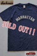 「Jackman」 Silk Cotton T-Shirts MANHATTAN ジャックマン シルクコットン 半袖 刺繍 Tシャツ JM5711 「ネイビー」