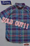 「Pherrows」 フェローズ コットン×リネン マドラスチェック 半袖ボタンダウンシャツ 15S-PBDS2 [ブルー]