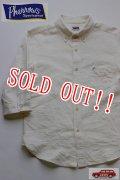 「Pherrows」 フェローズ コットンリネン 7分袖 ボタンダウンシャツ 15S-P7BD1  [ホワイト]