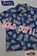 「Pherrows」 フェローズ  インディゴ抜染 コットンアロハシャツ ハワイアン 15S-PIS1 [パイナップル]