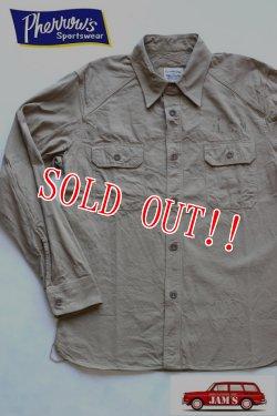 画像1: 「Pherrows」 フェローズ ミリタリースラブツイルシャツ US NAVY 15W-780WS-VP131 [ベージュ]