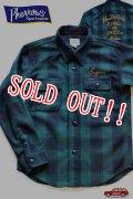 「Pherrows」 フェローズ カスタム ウールチェックシャツ 15W-PWSJ1-E [グリーン]