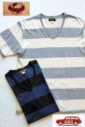 「JELADO」 Club Tee ジェラード クラブ ボーダーVネック Tシャツ  JP11214  [バニラ・ネイビー]