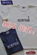 「Pherrows」 フェローズ  MEMPHIS プリントTシャツ 日本製 16S-PST1 [ホワイト・ネイビー]
