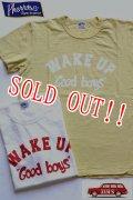 「Pherrows」 フェローズ  WAKE UP プリントTシャツ 日本製 16S-PST2 [ホワイト・マスタード]