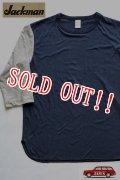 「Jackman」 BASEBALL T-SHIRTS  ジャックマン ベースボールTシャツ  JM5634 「グレー×ネイビー」