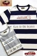 「JELADO」 Key to the Heaven Tee ジェラード ボーダーステンシルプリント Tシャツ AG12205  [ネイビー・ソルト&ペッパー]
