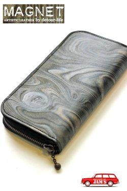 画像1: 「MAGNET」 Long Zip Wallet マグネット  ロングジップウォレット [WOOD BLACK]
