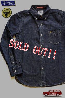 画像1: 「Pherrows」 フェローズ 25周年記念モデル ウール混 デニムボタンダウンシャツ 16W-PBD1-25TH [インディゴ]