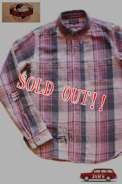 画像1: 「JELADO」 DUG OUT SHIRTS ジェラード ダグアウトシャツ 40着限定生産 ヴィンテージ加工 ネルシャツ [ライチ]
