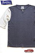「Pherrows」 フェローズ ネップシルク ベースボールTシャツ 17S-PRBT1 [チャコール × オフホワイト]