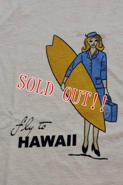 画像2: 「CAL O LINE」 FLY TO HAWAII キャルオーライン フライ トゥ ハワイ Tシャツ [ペイルピンク]