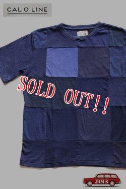 画像1: 「CAL O LINE」 PATCHWORK Tee キャルオーライン パッチワーク Tシャツ [ネイビー]