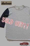 「Jackman」 BASEBALL T-SHIRTS  ジャックマン ベースボールTシャツ コットン  JM5757 「ホワイト×ネイビー」