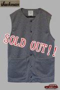「Jackman」 Jersey Collarless Vest ジャックマン ジャージカラーレス ベスト 3ピースセットアップ JM7813 [グレー]