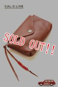「CAL O LINE」 BEADS LEATHER POUCH キャルオーライン ビーズ ポーチ CL181-127 [タン]
