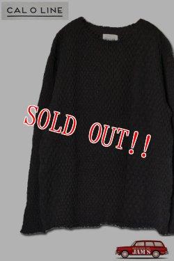 画像1: 「CAL O LINE」 CUT OFF JACQARD L/S Tee キャルオーライン カットオフ ジャガード 長袖Tシャツ CL182-021 [ブラック]