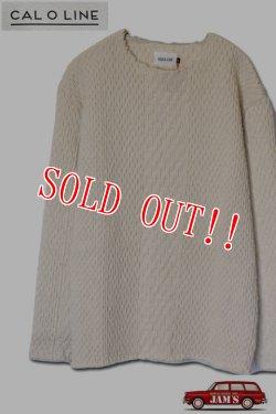 画像1: 「CAL O LINE」 CUT OFF JACQARD L/S Tee キャルオーライン カットオフ ジャガード 長袖Tシャツ CL182-021 [ナチュラル]