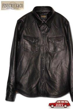 画像1: 「FINE CREEK &Co.」 Hank ファインクリーク・アンド・コー ハンク シープスキン レザーシャツ ACST001 [ブラック]