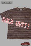 「CAL O LINE」90s JACQUARD BORDER S/S T-SHIRTS キャルオーライン ジャガードボーダー 半袖Tシャツ  CL191-067 [ベージュ]