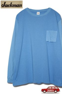 画像1: 「Jackman」 Crew Neck Pocket Long Sleeve T-Shirt クルーネック ポケット ロンTee JM5855 「ターコイズ」