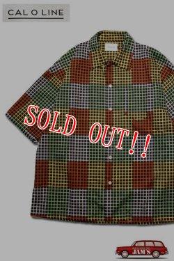 画像1: 「CAL O LINE」E.C Short Sleeve Shirt キャルオーライン E.C ショートスリーブ サテンシャツ  CL201-047 [ブラック]