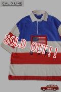 「CAL O LINE」USA S/S RUGBY SHIRT キャルオーライン 半袖 ラグビーシャツ CL201-116S [トリコロール]