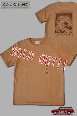 画像1: 「CAL O LINE」AMERICA WAVE T-SHIRTS キャルオーライン アメリカウェーブ 半袖Tシャツ  CL201-081 [ラセット]