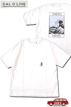 画像1: 「CAL O LINE」TOKYO WAVE PRINT T-SHIRTS キャルオーライン  東京ウェーブ プリント半袖Tシャツ CL202-083A [ホワイト]
