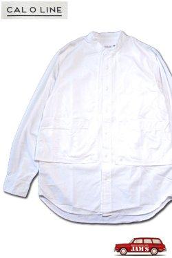 画像1: 「CAL O LINE」 STAND COLLAR PAINTER SHIRT キャルオーライン スタンドカラー シャンブレー ペインターシャツ CL202-032 [ホワイト]