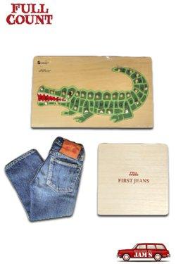 画像1: 「FULLCOUNT」My First Jeans Kids Denim Gift Box フルカウント マイ ファースト ジーンズ グランパパ パズル付き [ワニ]