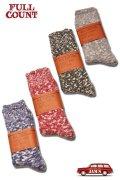 「FULLCOUNT」Cotton Mix Socks フルカウント コットン ミックスネップ ソックス [レッド・グリーン・ブルー・グレー]