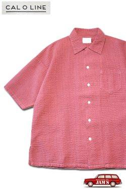 画像1: 「CAL O LINE」CATALINA SHIRT キャルオーライン カタリナシャツ リップル生地 CL211-048 [ピンク]