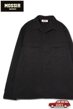 画像1: 「MOSSIR」 Petreri Open Collar Shirt モシール ペトレリ クールマックス素材 シアサッカー 長袖シャツ MOST004 [ブラック]