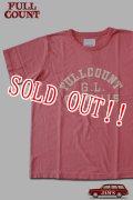 「FULLCOUNT」GOOD LUCK OVERALLS T-Shirt フルカウント グッドラックオーバーオールズ プリント半袖Tシャツ  [フェードレッド]