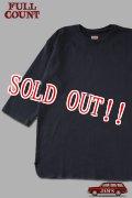 「FULLCOUNT」Three Quarter Sleeve Rib T-Shirtフルカウント スリークォーター リブ Tシャツ [インクブラック]