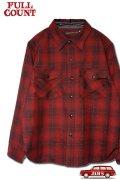[限定生産・デッドストック生地]「FULLCOUNT」Onbre Check Wool CPO Shirt フルカウント オンブレチェック ウール シャツ  [ブラック/レッド]